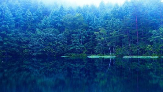 壮丽的蓝灰色的湖景观壁纸