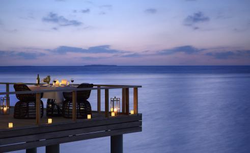 葡萄酒,晚餐,晚上,海洋,超级,蜡烛