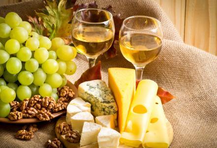 葡萄酒,酒杯,葡萄,奶酪,坚果
