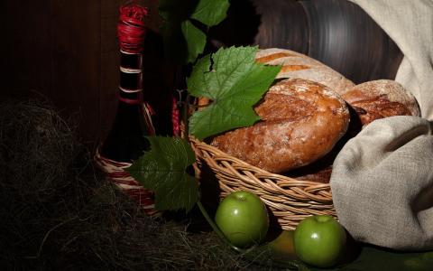 葡萄酒,苹果,面包