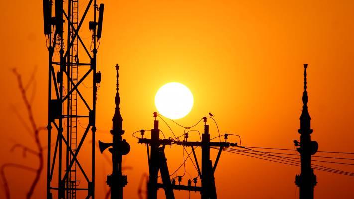 桅杆,电线,剪影,太阳,塔,支持,日落