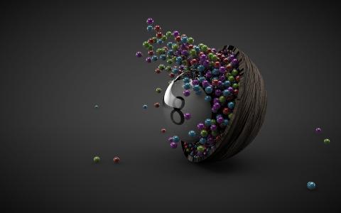 许多球,碗,八,灰色背景,3D设计壁纸