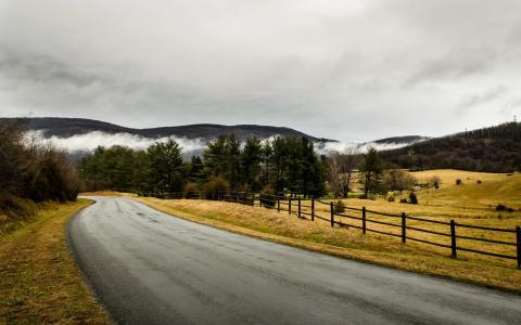 道路,围栏,风景壁纸