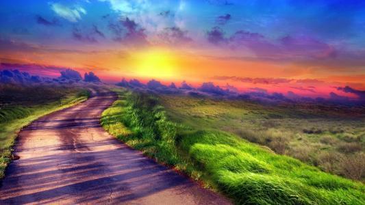 日落路径壁纸