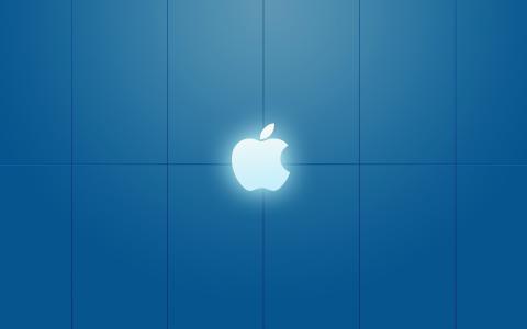 苹果图案蓝色背景壁纸