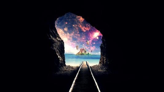 铁路,洞穴,幻想,海,银河壁纸