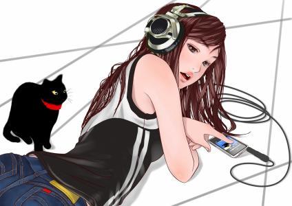 动画女孩,耳机壁纸