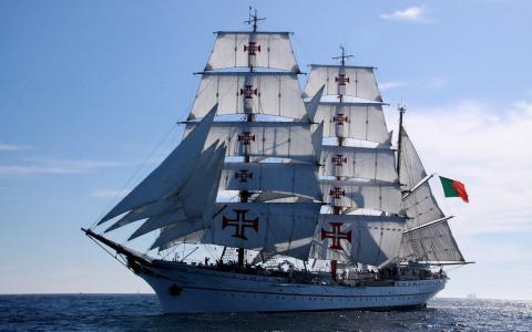 葡萄牙国旗,帆船,海上壁纸