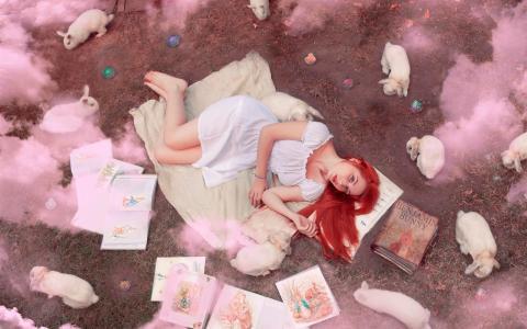 红头发的女孩,书籍,兔子,烟雾壁纸