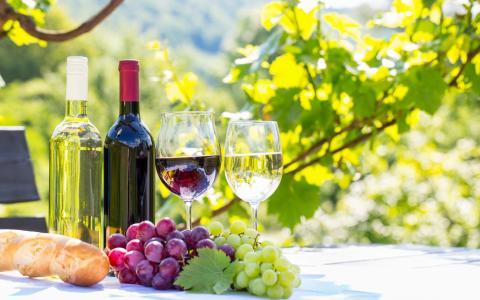 白葡萄酒,红酒,葡萄酒,水果,葡萄,玻璃,瓶壁纸