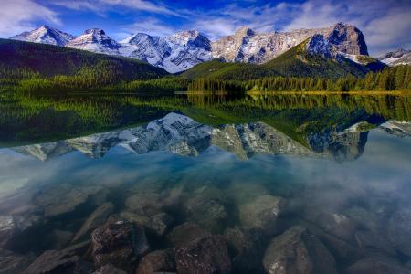 山地景观,反思,山,湖,岩石壁纸