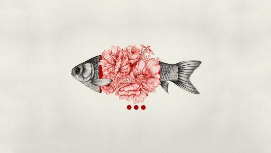 简单的背景,鱼,鲜花,数字,艺术,极简主义壁纸