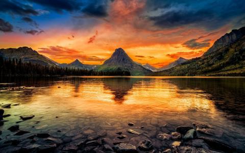 两药湖,冰川国家公园,美国,山,清澈的水,日落壁纸