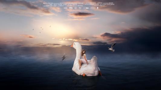 贝壳,鹅,鸭,女孩,幻想壁纸