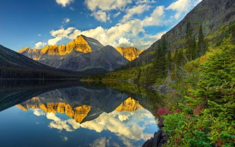 古尔德山大陆分水岭冰川国家公园蒙大拿州美国壁纸