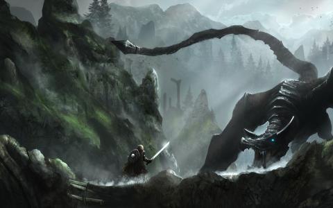 天际、山脉、森林壁纸