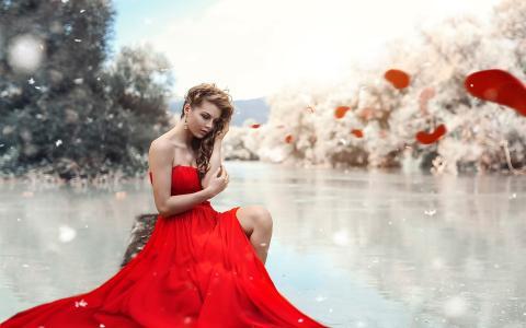 红衣服女孩,湖,腿,化妆墙纸
