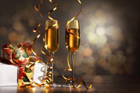 新年快乐香槟餐具丝带壁纸