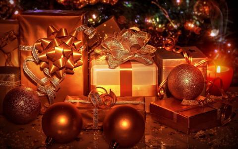圣诞节礼物,装饰品,球,丝带,金黄颜色墙纸