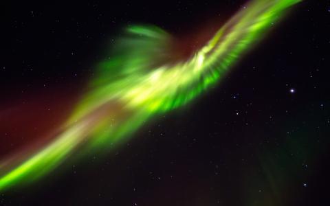 极光Borealis北极光夜晚绿色星星高清壁纸