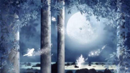 童话般的蓝色森林壁纸