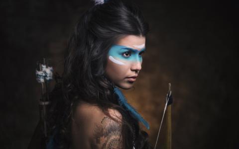 复古风格的女孩,蓝色的油漆化妆,弓壁纸