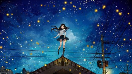 夜空中的动漫女孩高清壁纸