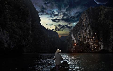 乘船在夜晚的壁纸