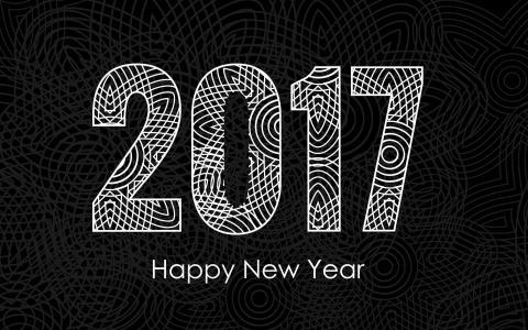 2017新年快乐,庆祝,黑白壁纸