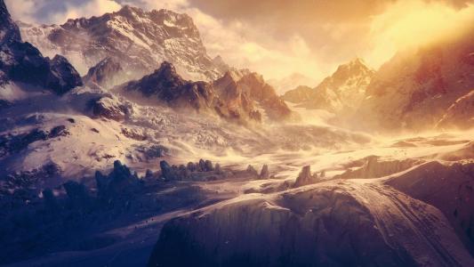 雪山穿越阳光高清壁纸