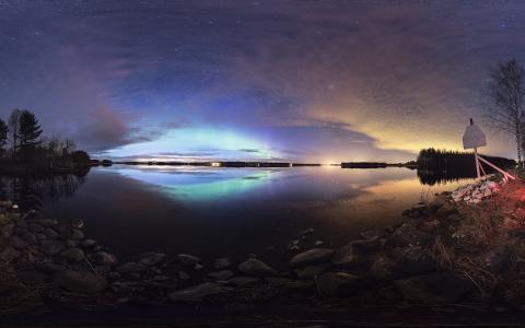 极光Borealis北极光湖反射星星晚上的岩石石头高清壁纸