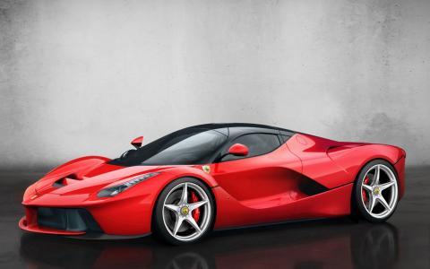 2014个红色的法拉利,拉法拉利,超级跑车高清壁纸