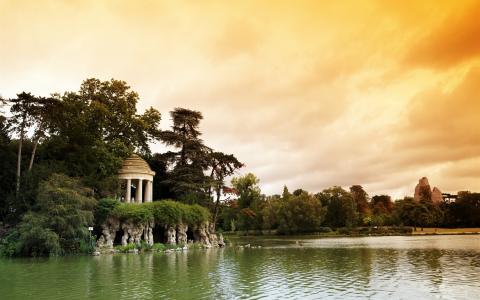 法国,巴黎,文森林公园,湖,树,云,黄昏壁纸