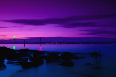 丁香紫色日落海上壁纸