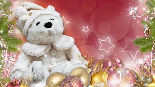 白色泰迪圣诞新年壁纸