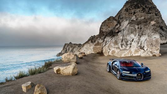 布加迪奇龙蓝色的豪华车,北美洲,海岸壁纸