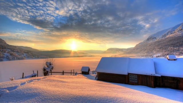 寒夜初雪景色壁纸
