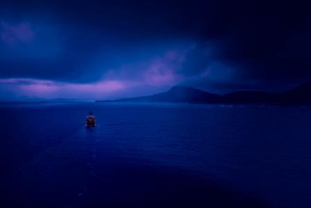 波,摄影,景观,船舶,山,海,蓝色壁纸