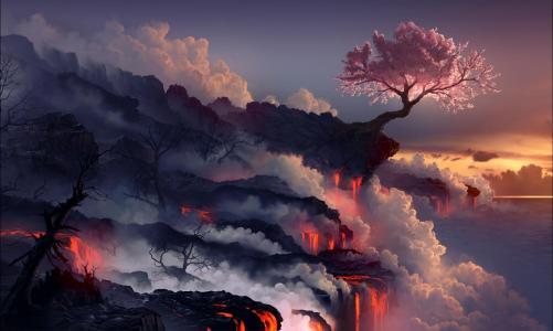 火山爆发,熔岩,火山,东方樱桃,树壁纸