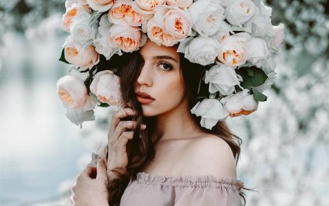 不同风格,棕色头发女孩,玫瑰花帽子壁纸