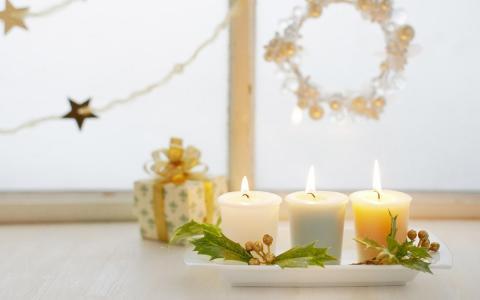 蜡烛礼品明星圣诞假期冬季真棒壁纸