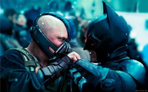 巴恩和蝙蝠侠在黑暗骑士起床壁纸