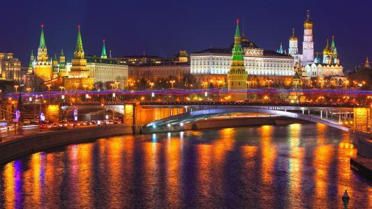 莫斯科,俄罗斯,城市之夜,Kremlin,河流,灯光壁纸