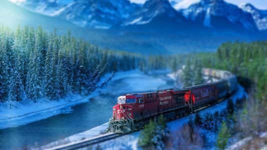 火车,铁路,铁轨,河流,树木,加拿大壁纸