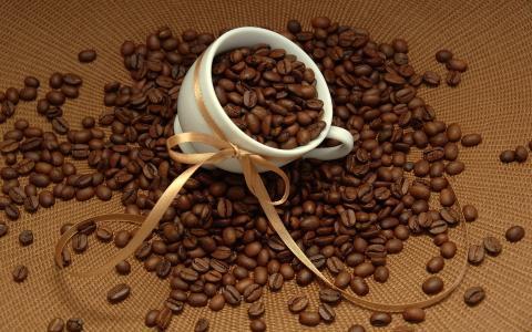 咖啡豆,杯子,丝带壁纸