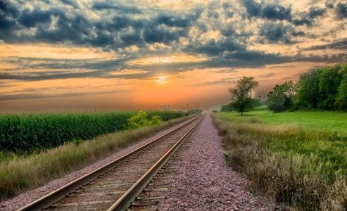 铁路日落壁纸