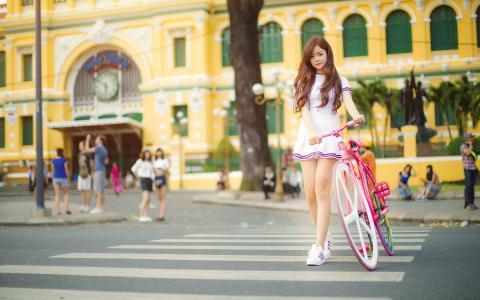 女孩,街道,自行车壁纸