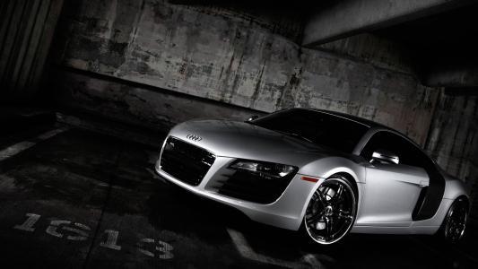 奥迪R8,汽车,着名品牌,银,四环壁纸