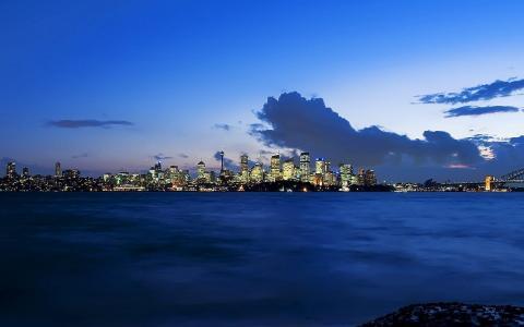 美丽的悉尼,海港,黄昏壁纸