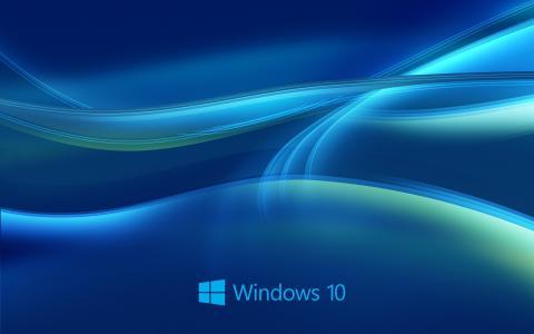 Windows 10系统,抽象的蓝色背景壁纸